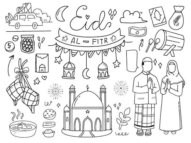 Eid al-fitr muslimische gegenstände im linienstil