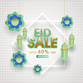 Eid al-fitr sale banner vorlage rabatt angebot. eid mubarak