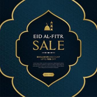 Eid al fitr verkaufsfahne mit hängenden laternen auf blauem islamischem musterhintergrund