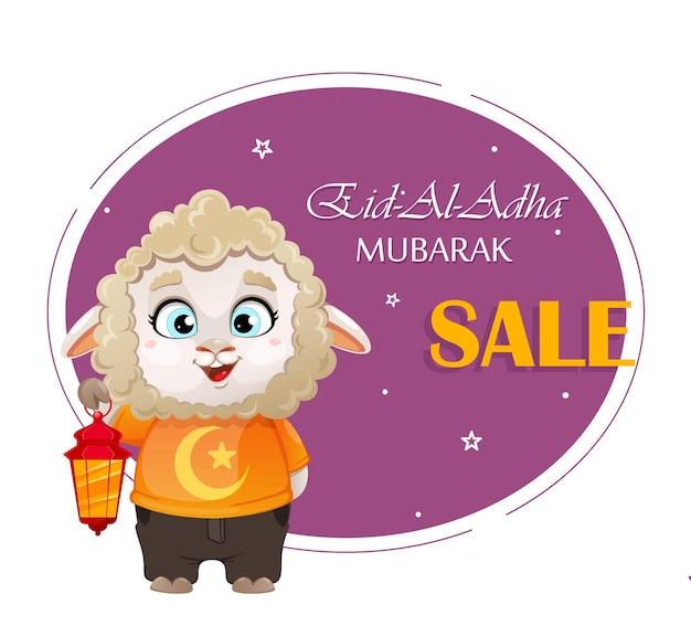 Eid aladha mubarak lustige zeichentrickfigur widder mit laterne kurban bayrami