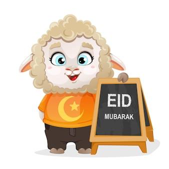 Eid aladha mubarak lustiger zeichentrickfigur-widder, der in der nähe des straßenbretts steht