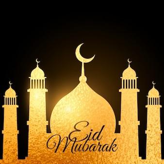 Eid festival hintergrund mit goldenen moschee