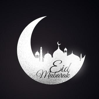 Eid festival hintergrund mit mond und moschee