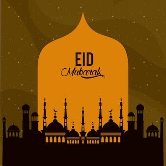 Eid mubarack design mit moschee silhouette