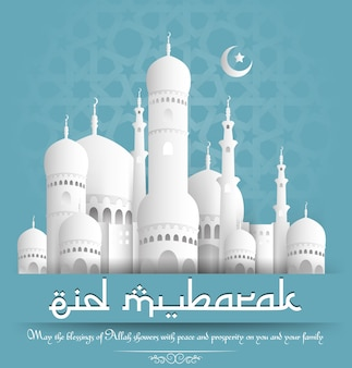 Eid mubarak, der hintergrund mit weißer moschee grüßt