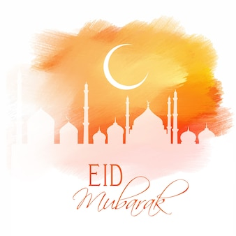Eid mubarak design auf eine aquarell textur