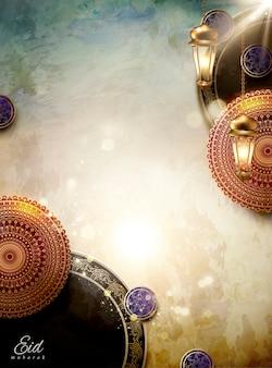 Eid mubarak design mit blumendekor und kopierraum