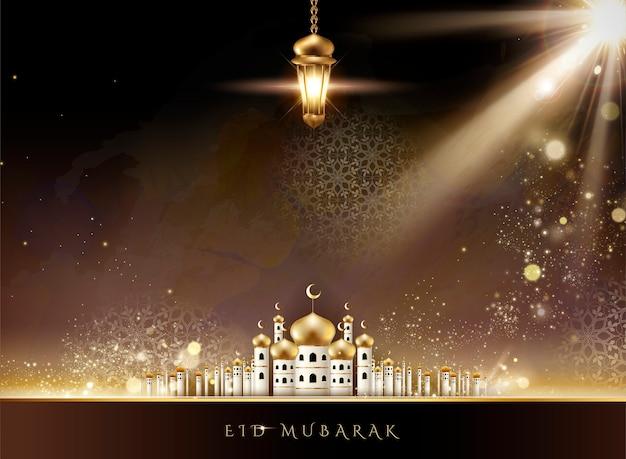 Eid mubarak design mit moscheenlandschaft und hängenden fanoos in der 3d-illustration