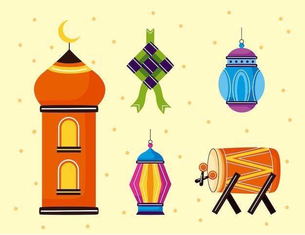 Eid mubarak elemente gesetzt