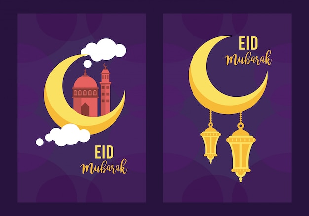 Eid mubarak feierkarte mit laternen, die im mondvektorillustrationsentwurf hängen