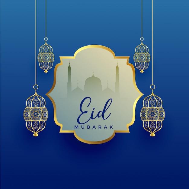 Eid mubarak festival hintergrund mit hängenden laterne