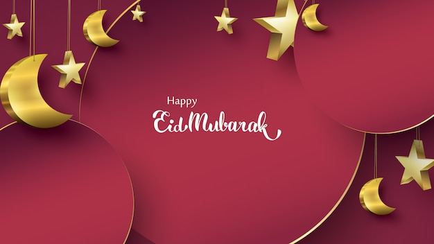 Eid mubarak grußkarte illustration