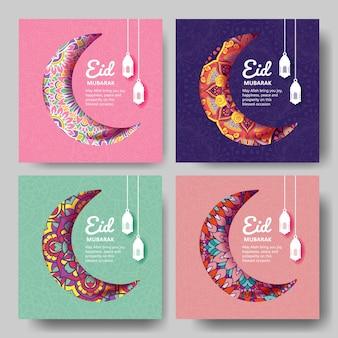 Eid mubarak grußkarte mit mandala ornament
