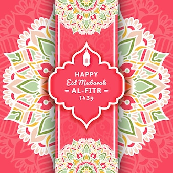 Eid mubarak-grußkarte und -feier mit mandalaverzierung