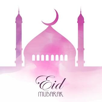 Eid mubarak hintergrund auf aquarell textur Kostenlosen Vektoren