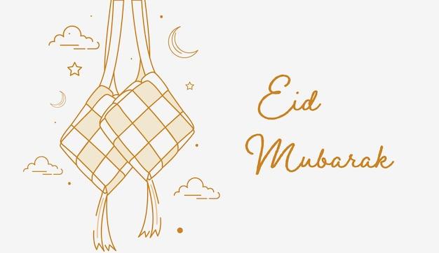 Eid mubarak hintergrund mit hängendem ketupat line art style