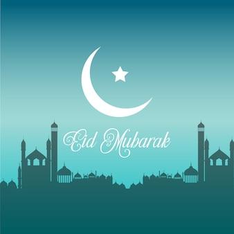 Eid mubarak-hintergrund mit schattenbildern von moscheen