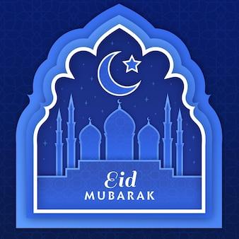 Eid mubarak im moschee- und mondpapierstil