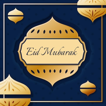 Eid mubarak im papierstil mit laterne