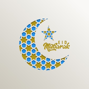 Eid mubarak islamischer halbmond