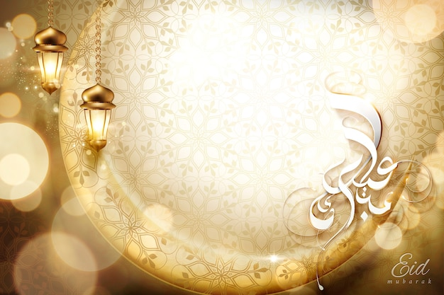Eid mubarak kalligraphiedesign mit blumenhintergrund und verziertem halbmond