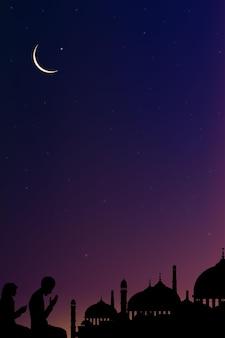 Eid mubarak-karte mit moschee-silhouetteramadan kareem mit gebet und moschee