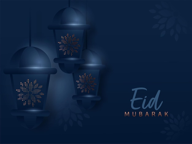Eid mubarak-konzept mit hängenden arabischen laternen