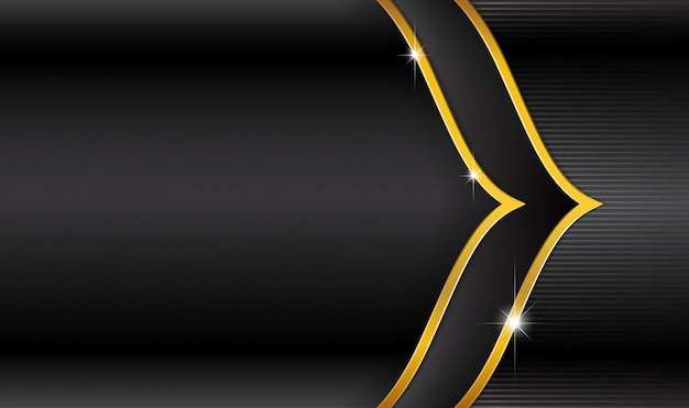 Eid mubarak-logo auf schwarzem luxus- und streifengold