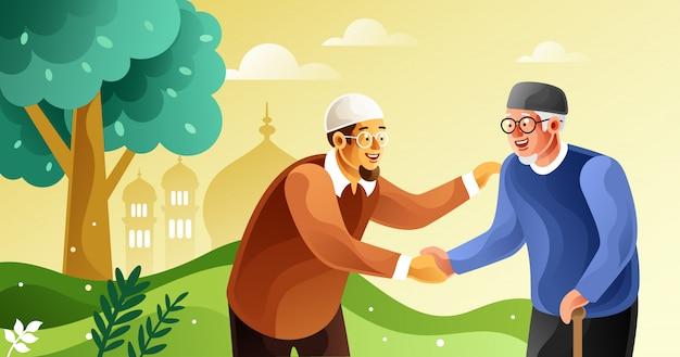 Eid mubarak mit gegenseitiger vergebung feiern