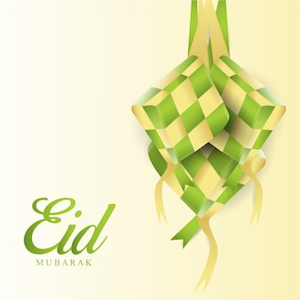 Eid mubarak mit ketupat islamic design