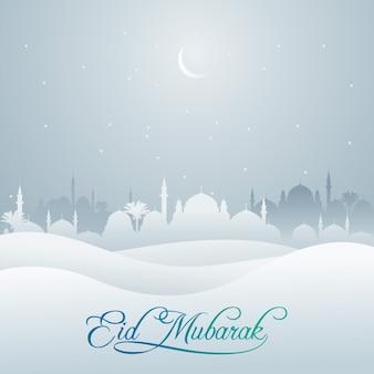 Eid mubarak moschee und wüstenschattenbild für grußfahne