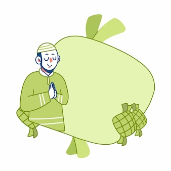 Eid mubarak muslim man grußkartenvorlage illustration