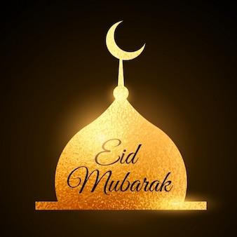 Eid mubarak muslime festival mit goldenen moschee