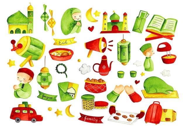 Eid mubarak oder idul fitri designelement im aquarell-doodle-stil