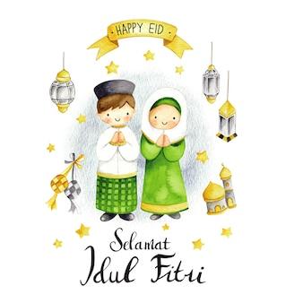 Eid mubarak oder idul fitri grußkarte im cartoon-doodle-stil