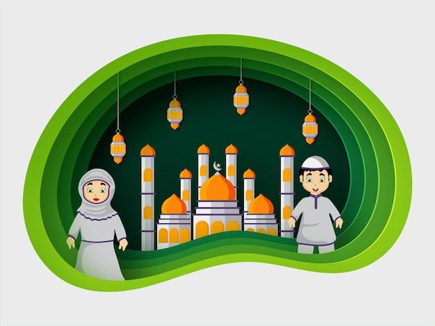 Eid mubarak origami kunstillustration premium-vektor