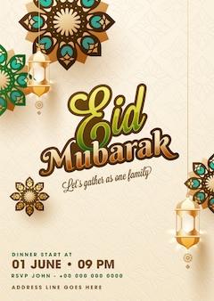 Eid mubarak-schablonen- oder fliegerdesign verziert mit mandala desi