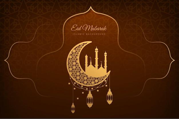 Eid mubarak schöner kartenfeiertagshintergrund