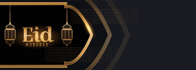 Eid mubarak schönes schwarz-goldenes banner