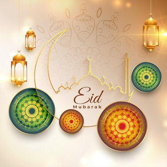 Eid mubarak traditionelles festival wünscht kartenentwurf