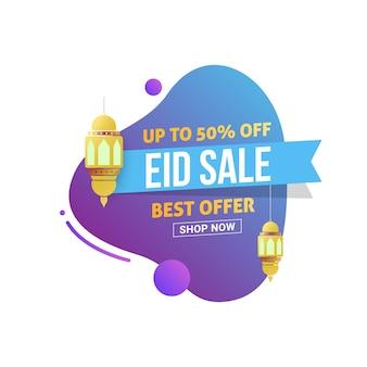 Eid mubarak verkauf design-tag mit 50% rabatt