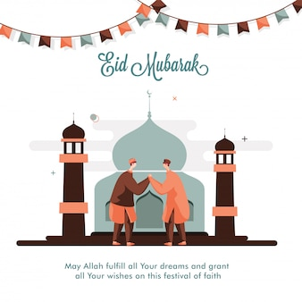Eid mubarak wishing card oder poster design mit cartoon muslim men händchen haltend