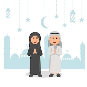 Eid mubarrak gruß muslimischer junge und muslimisches mädchen
