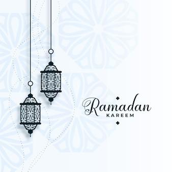 Eid ramadan kareem arabisch mit lampendekoration