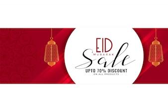 Eid Verkauf Banner oder Header mit hängenden Laternen