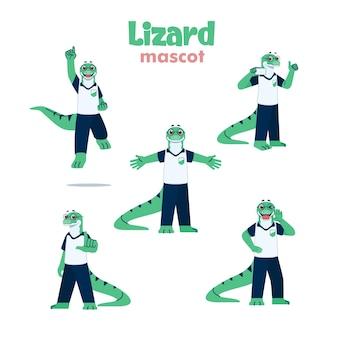 Eidechsen-maskottchen-cartoon-illustration mit verschiedenen posen