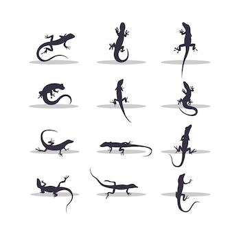 Eidechsen-silhouette-vektor-illustration-design