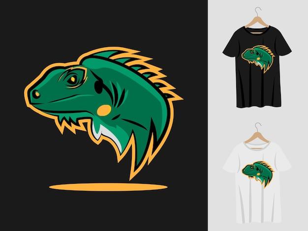 Eidechsenlogo-maskottchenentwurf mit t-shirt. eidechsenkopfillustration für sportmannschaft und bedruckendes t-shirt