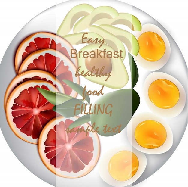 Eier, avocado und orange realistischer vektor. einfaches nahrhaftes lebensmittel des frühstücks für menü, seite, druck, poster