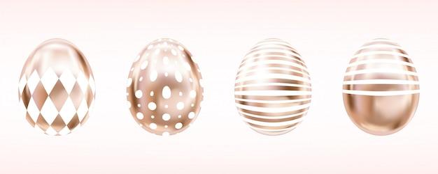 Eier in rosa farbe mit weißem rumb, punkten, streifen